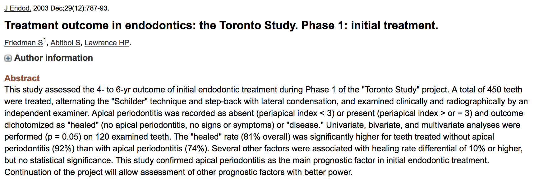Dr. Sarah Abitbol - Treatment outcome in endodontics: the Toronto Study. Phase 1: initial treatment