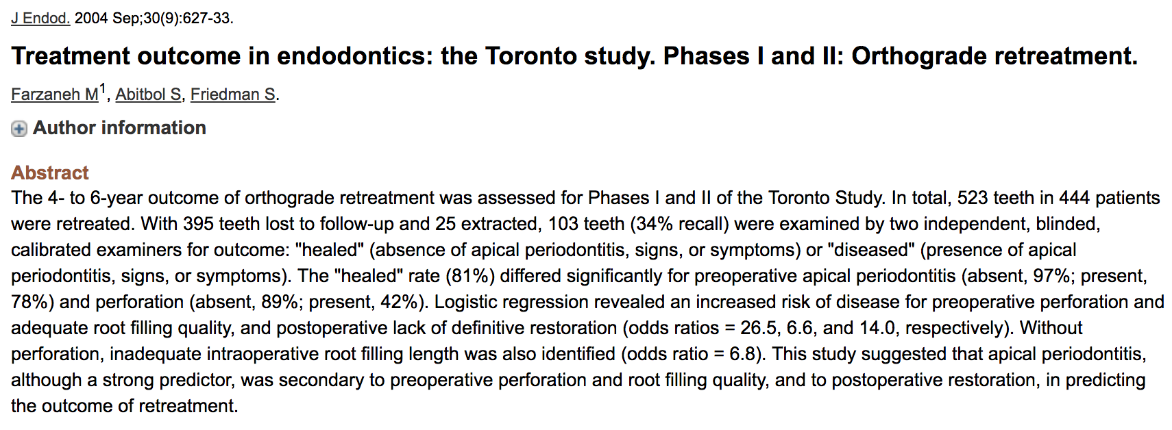 Dr. Sarah Abitbol - Treatment outcome in endodontics: the Toronto study. Phases I and II