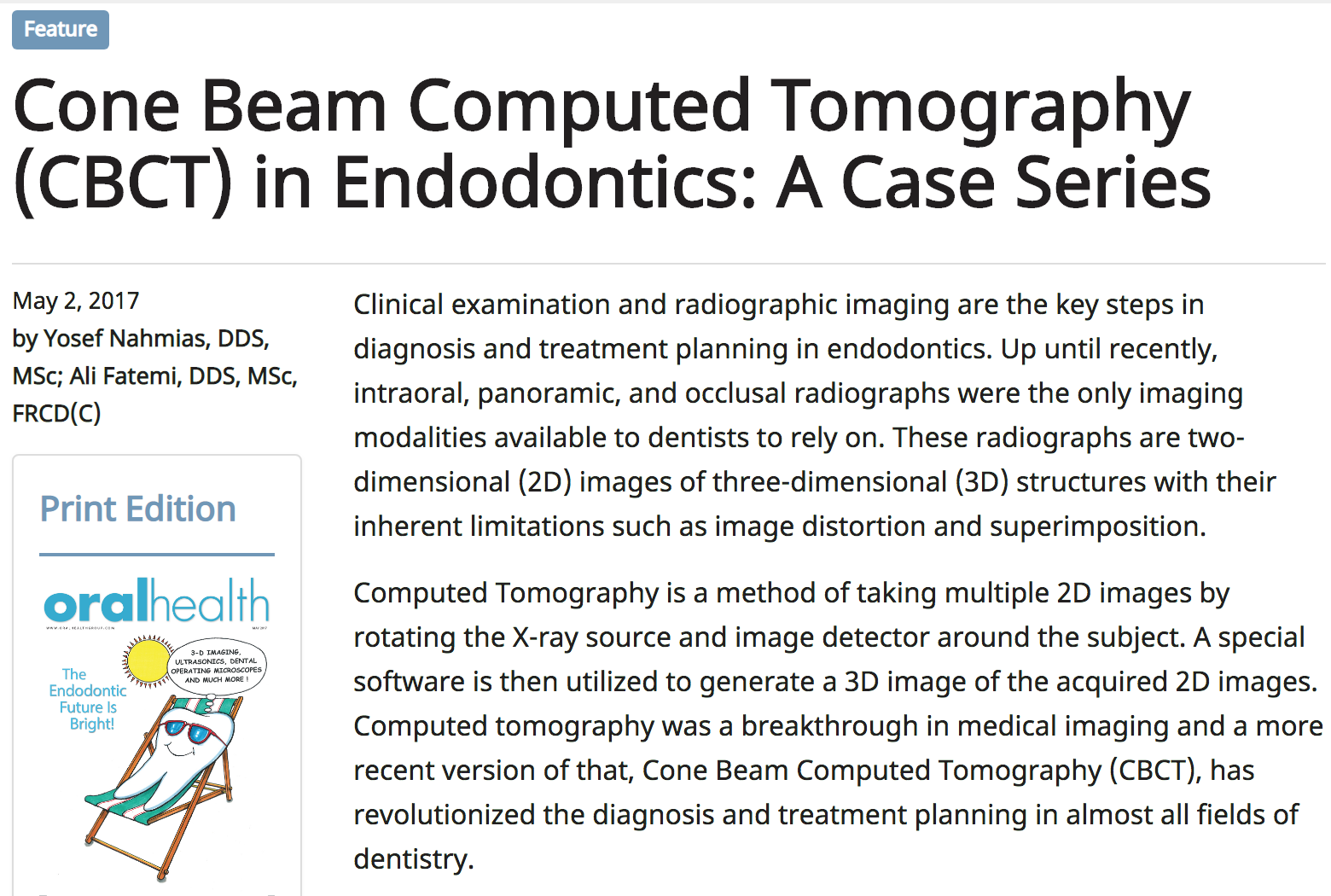 Dr. Ali Fatemi - Cone Beam Computed Tomography (CBCT) in Endodontics: A Case Series