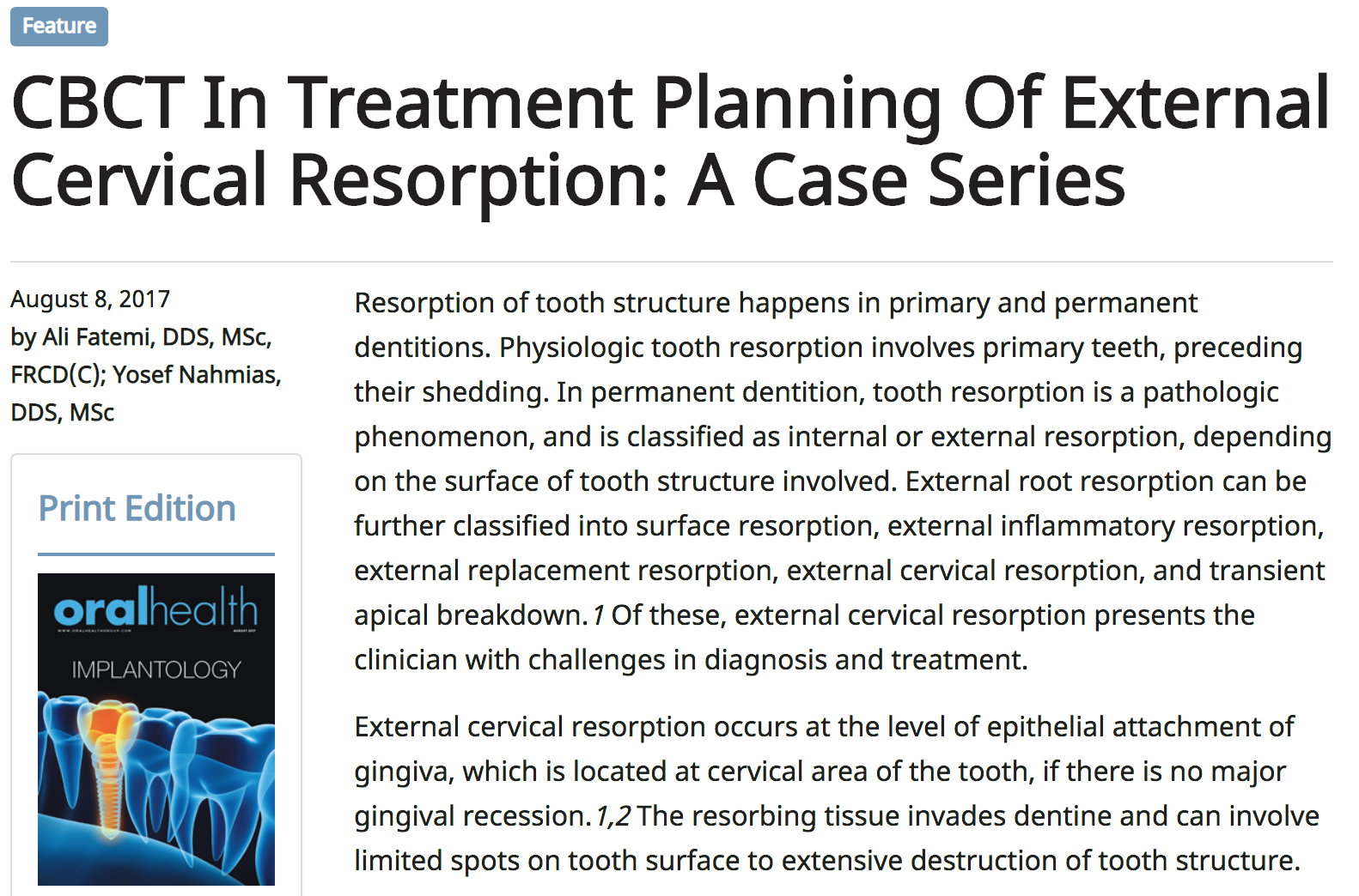 Dr. Ali Fatemi - CBCT In Treatment Planning Of External Cervical Resorption: A Case Series