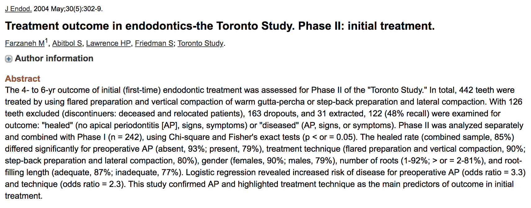 Dr. Sarah Abitbol - Treatment outcome in endodontics-the Toronto Study. Phase II: initial treatment
