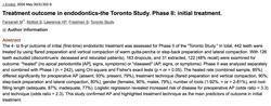 Dr. Sarah Abitbol - Treatment outcome in endodontics-the Toronto Study. Phase II: initial treatment