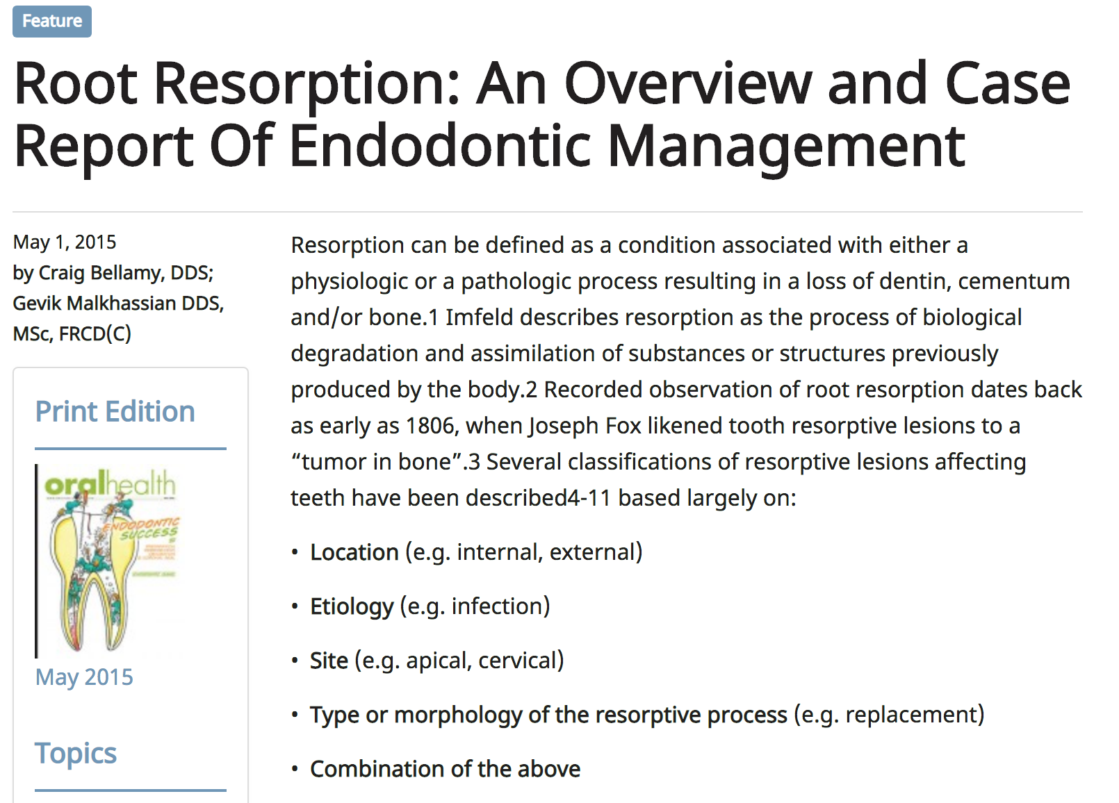 Dr. Gevik Malkhassian - Root Resorption: An Overview and Case Report Of Endodontic Management