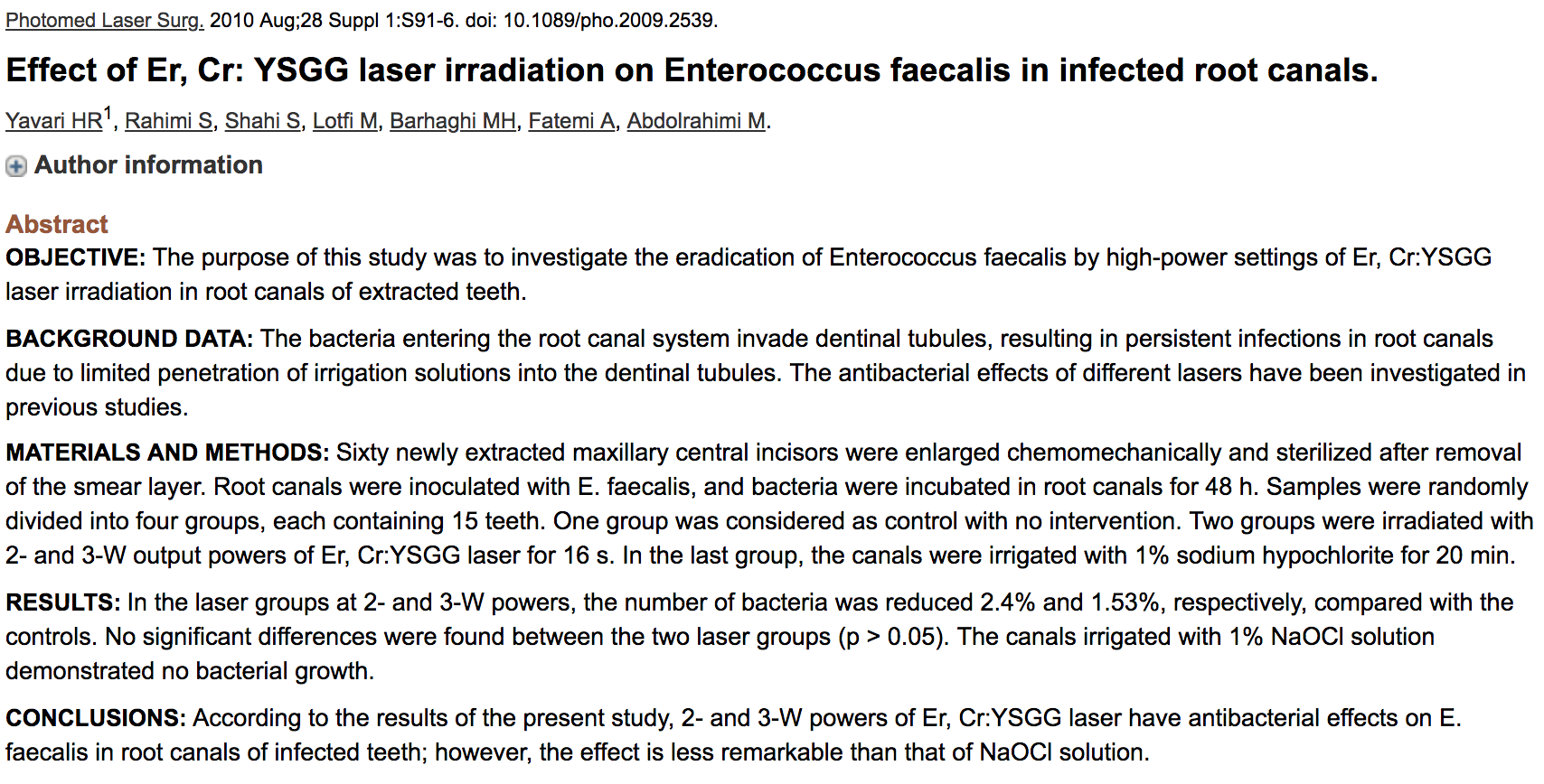 Dr. Ali Fatemi - Effect of Er, Cr: YSGG laser irradiation on Enterococcus faecalis