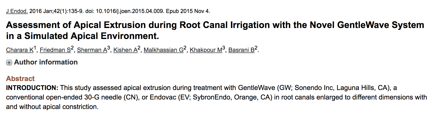 Dr. Gevik Malkhassian - Assessment of apical extrusion during root canal irrigation