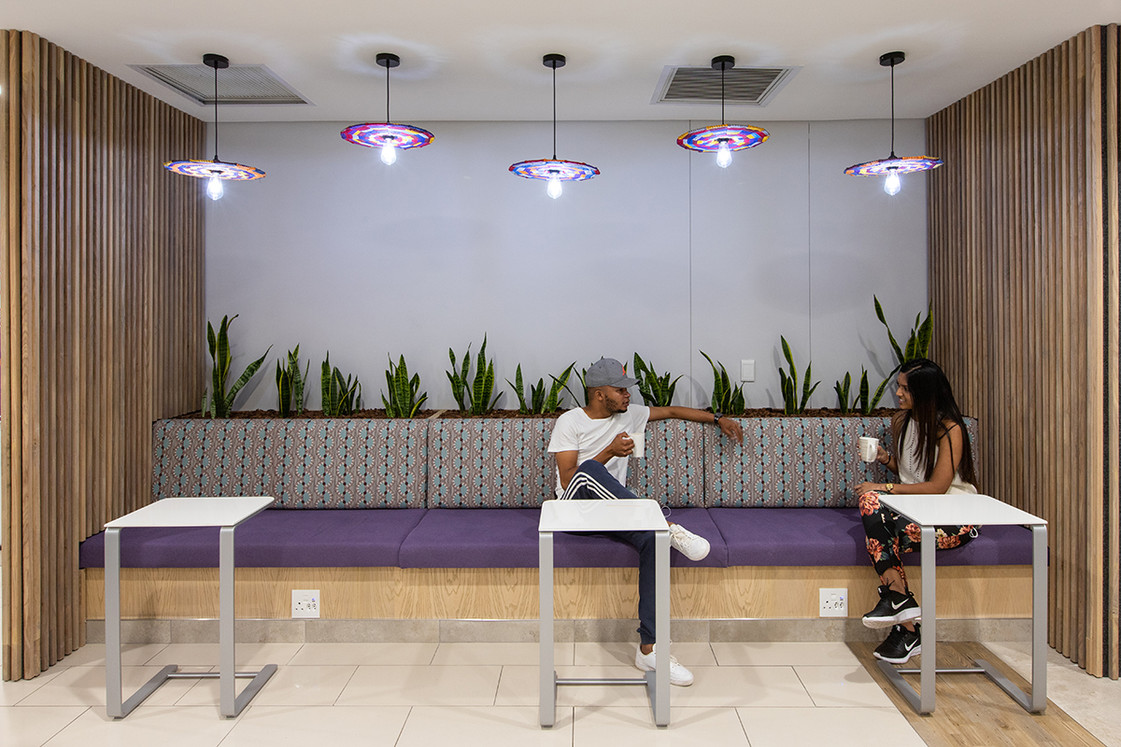 Bench with laptop tables