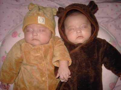 This image is of my twins. It was a miracle for me to have them and in memory of my Beanie Baby, the son I lost, I dressed them up as little Cubs.