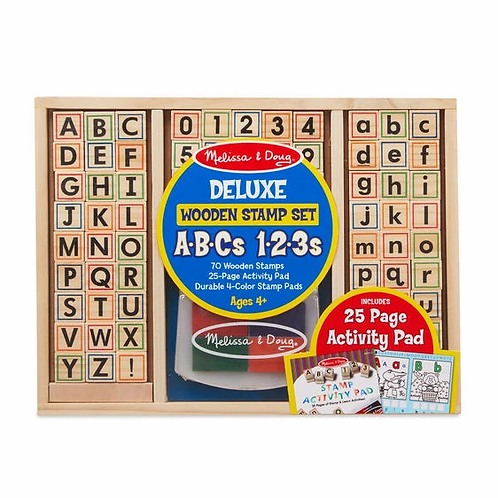Deluxe ABCs 123s Wooden Stamp Set