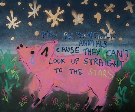 The Dream About a Pig, acrylic on canvas
