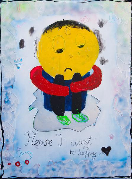 Sad Boy, 180x130cm, acrylic on canvas