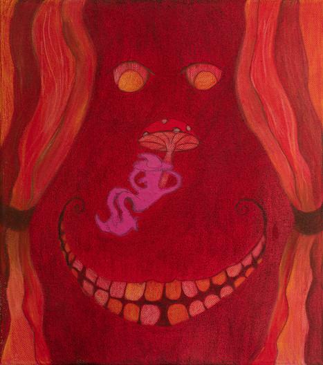 Strange Eyes, 45x45cm, colour pencils, acrylic and oil pastel on canvas, 2021.