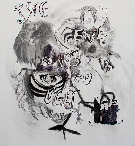 The End Sounds So Ugly, 130x120cm, pencil, pen and coal on canvas