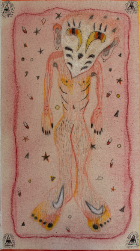 The Dreamer, 60x35cm, colour pencils and oil pastel on canvas, 2021.