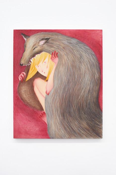 Wolf Skin, 145x110cm, colour pencils and acrylic on canvas, 2021.