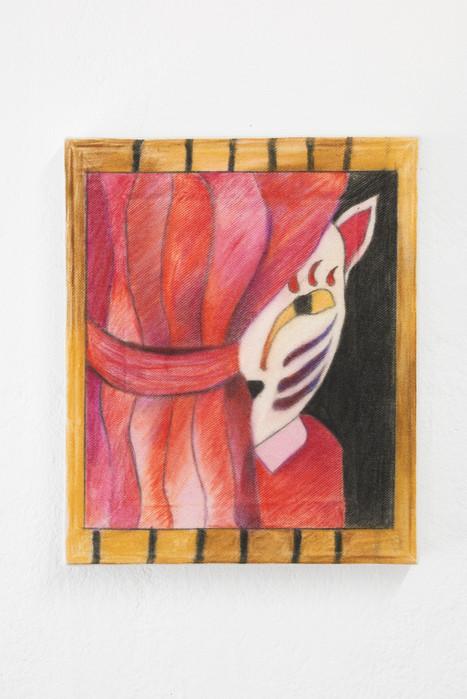 Kitsune, 40x30cm, colour pencils on canvas, 2021.
