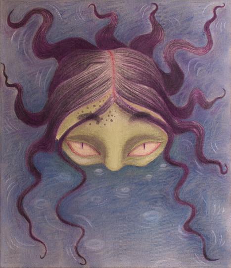 Drowner, 50x40cm, colour pencils and acrylic on canvas, 2021.
