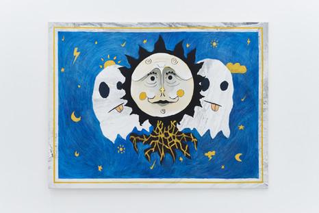Solar Cult, 135x180cm, acrylic and crayons on canvas