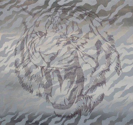 Tiger, 110x116cm, acrylic and pen on canvas