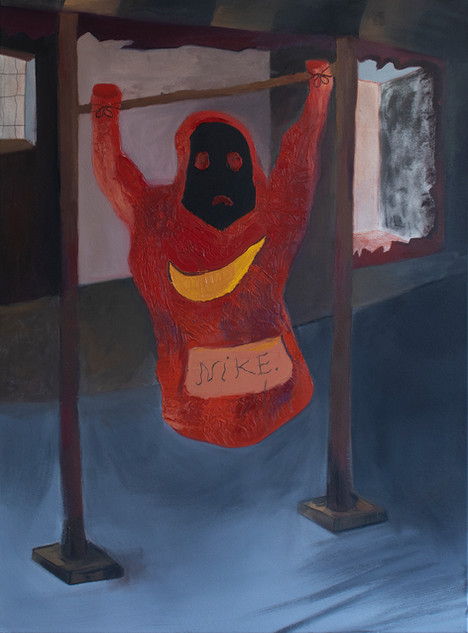 Slaughtered Hoodie, 80x55cm, oil on canvas