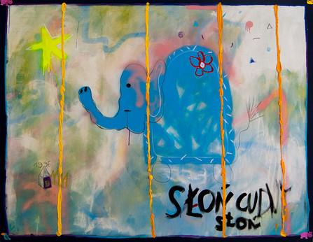 Słoń w Ciupie, 160x200cm, acrylic on canvas