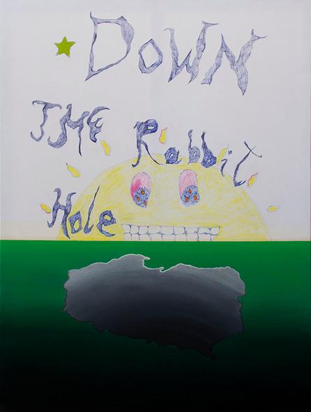 Down the Rabbit Hole, 160x120cm, acrylic, oil, crayons, pen on canvas