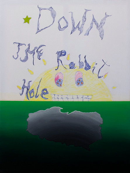 Down the Rabbit Hole, 160x120cm, acrylic, oil, crayons, pen on canvas