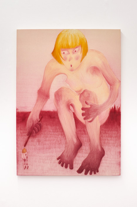 The Giant, 140x100cm, colour pencils and acrylic on canvas, 2021.