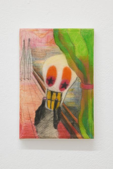 Scream, 30x20cm, colour pencils on canvas, 2021.