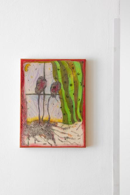 Untitled (Window), 40x30cm, colour pencils on canvas, 2021.