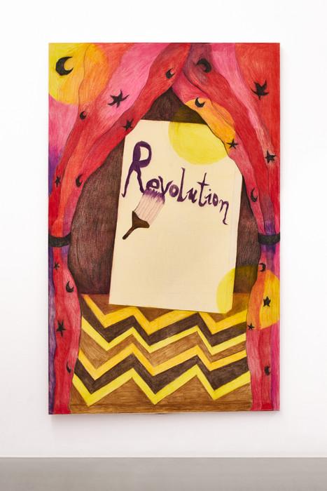 Revolution, 160x100cm, colour pencils on canvas, 2021.