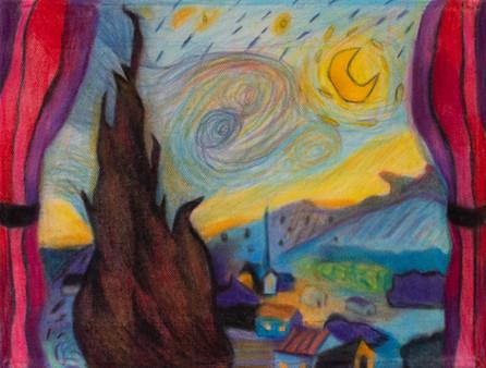 Starry Night, 20x30cm, colour pencils on canvas, 2021.