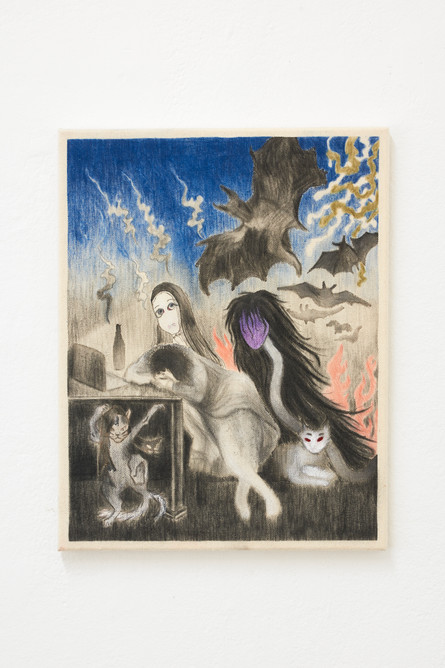 The Sleep of Reason, 45x35cm, colour penclis and acrylic on canvas, 2021.