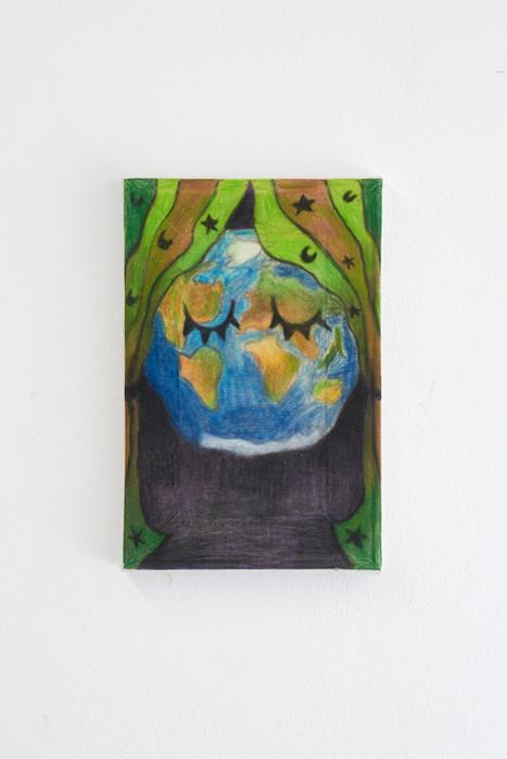 The Earth, 30x20cm, colour pencils on canvas, 2021.