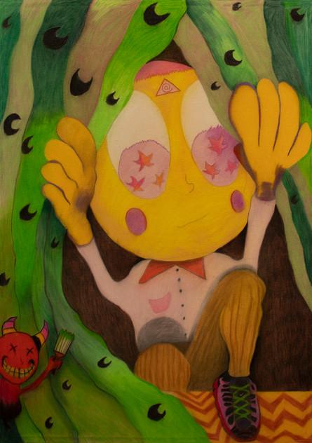The Dreamers (self portrait), 140x100cm, colour pencils on canvas, 2021.