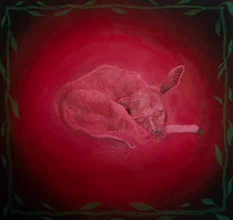 KUDAN, 90x95cm, acrylic and crayon on canvas