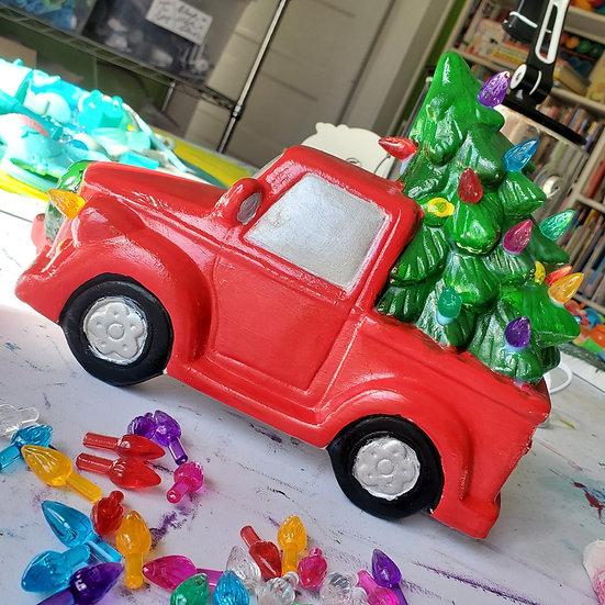 Vintage Lighted Holiday Pickup Truck Art Kit