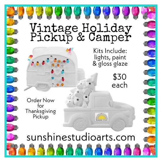 Vintage Lighted Holiday Camper Ceramic Art Kit