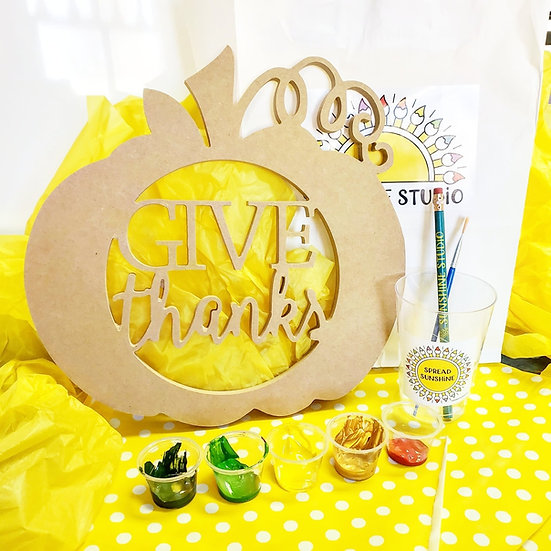 "Give Thanks 12"" Thanksgiving Pumpkin Art Kit"
