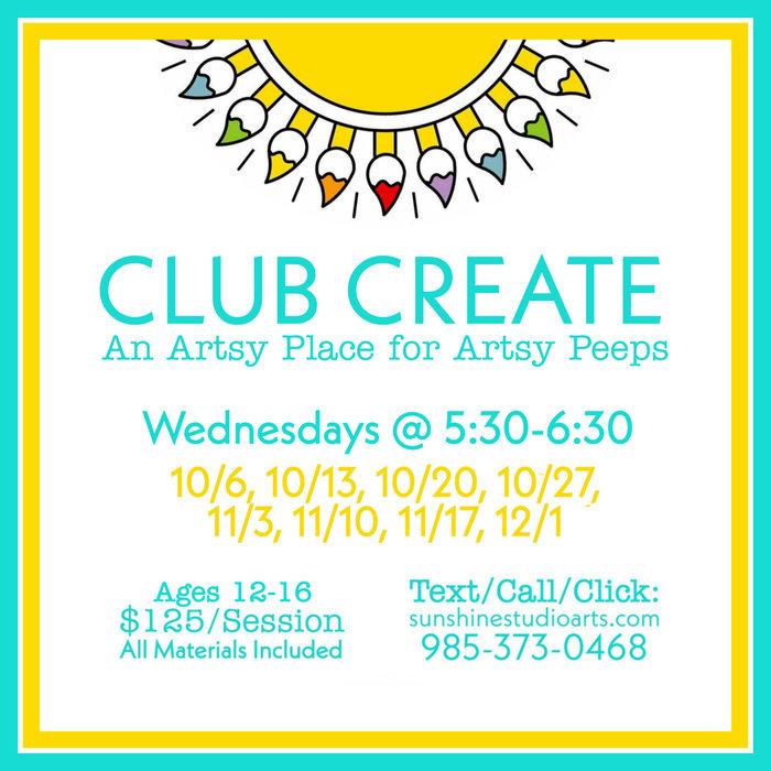 Club Create ~ Teen Art Workshop