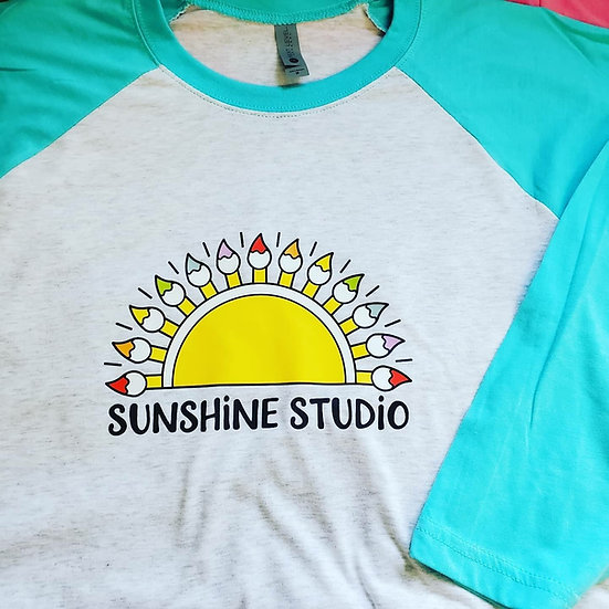 Signature Sunshine Studio Half Sun ~ 3/4 Sleeve Baseball T-Shirt