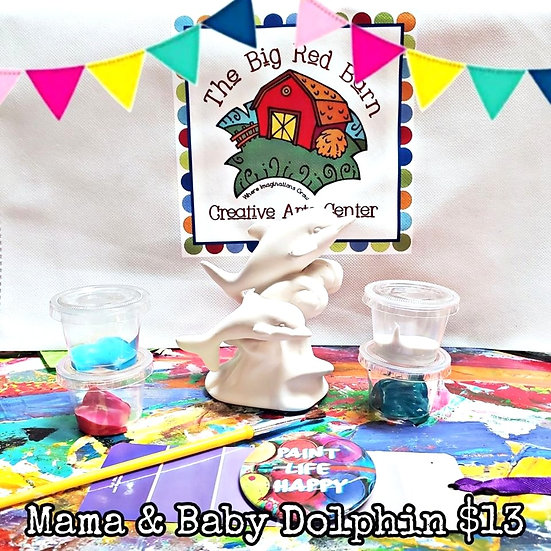 Mama & Baby Dolphin ~ Ceramic Art Kit ~