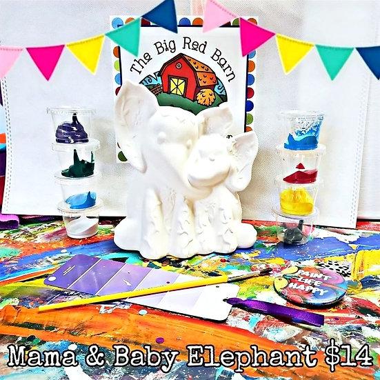 Mama & Sweet Baby Elephant Ceramic Art Kit