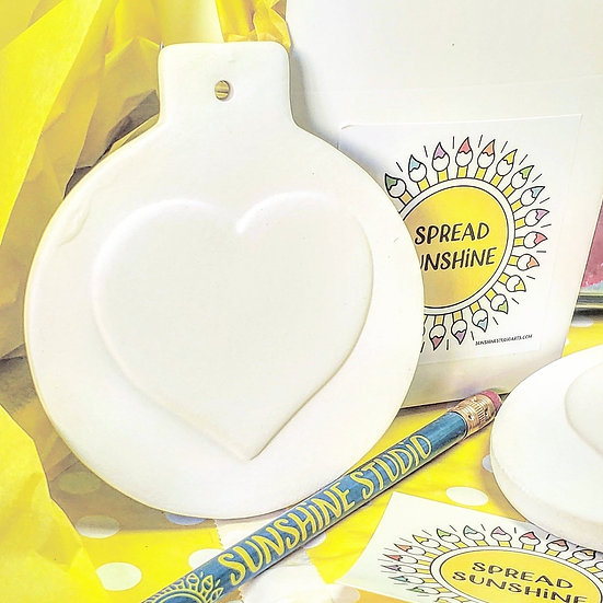 Classic Ball Ornament with Heart ~ Family Paint Pack for 5