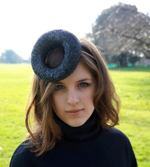 Glittery, charcoal grey cocktail hat