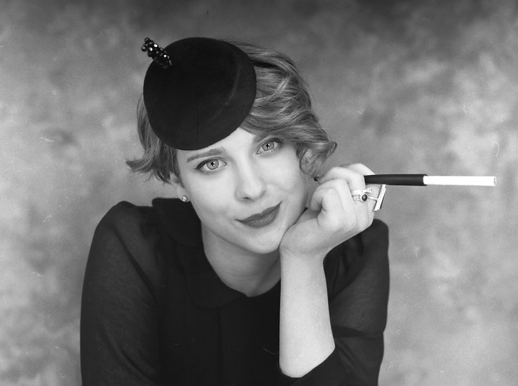 Black felt occasion hat