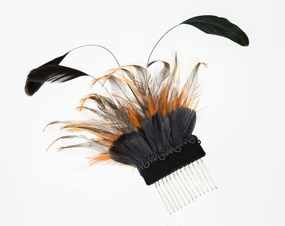 Black and ochre feather hair comb