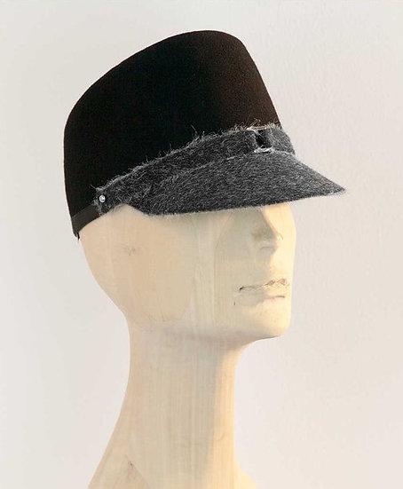 Black-grey, kepi, military style women's black cap with peak