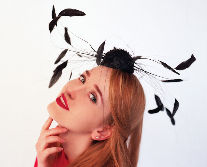Black feather cocktail hat