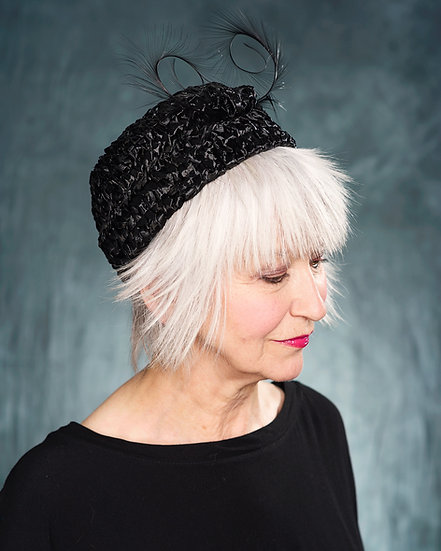 Black 60's style pillbox hat