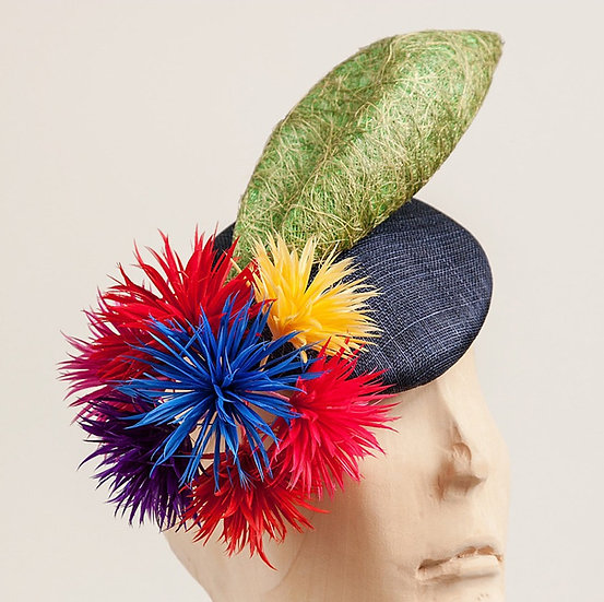 Colourful feather flowers, navy blue fascinator
